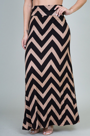 Chevron Print High Waist Maxi Skirt