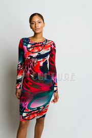 Abstract Print Silky Long Sleeve Knee Length Dress