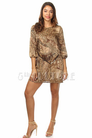 Belted Abstract Silky Print 3/4 Sleeve Shift Dress
