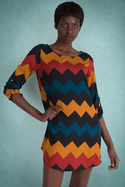 Zig Zag Colorblock Shift Dress