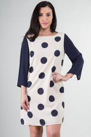 Polka Dot 3/4 Sleeve Zipper Back Shift Dress