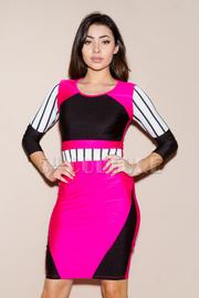 Colorblock Striped Bodycon Dress