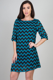 Chevron Print Half Sleeve Shift Dress