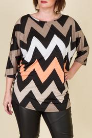 Plus Size Chevron Print 3/4 Sleeve Tunic