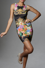 Baroque Print Sleeveless Scoop Back Mini Dress