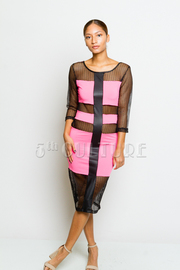 Scoop Back Fish Net Half Sleeve Faux Striped Midi Dress