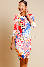Flower Sublimination Print 3/4 Sleeve Knee Length Dress