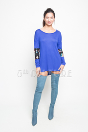 Sequence Long Sleeve Solid High Low Loose Fit Top
