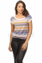 Multi Color Stripe SS Top