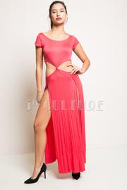 Short Sleeve Waist Open Twist Double Slit Solid Maxi Dress