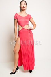 Short Sleeve Waist Open Twist Double Slit Solid Maxi Dress