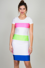 Color Striped Short Sleeve Knee Length Dress