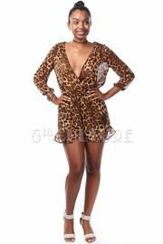 Leopard Print 3/4 Sleeve Ruffle Chiffon Overlay Romper