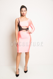 One Sleeve Mesh Insert Layover Solid Scuba Midi Dress
