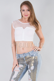 Sleeveless Netted Solid Crop Top