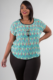 Ikat Print Cut Out Back Short Sleeve Top w/ Removable Necklace