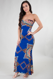 Baroque Print High Waist Maxi Skirt