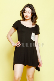 Lace Pocket Short Sleeve Tee