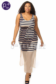 Plus Size Striped Draw String Chiffon Inset Slit Ankle Dress