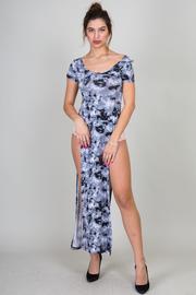 Short Sleeve High Slit Tie Dye Maxi Dress