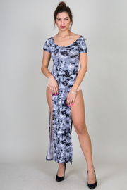 Short Sleeve High Slit Tie Dye Maxi Dress