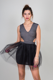 V-Cut Denim Print Cut Out Vallerina Dress