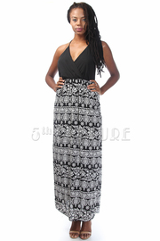 Halter Top Baroque Geo Print Maxi Dress
