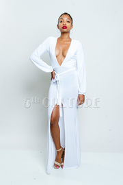 Long Sleeve Deep V-Cut Slit Maxi Dress