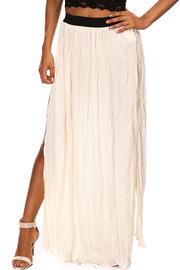 Crinkle Solid Slit Maxi Skirt