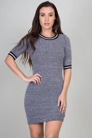 Varsity Stripe Knit Quarter Sleeve Mini Dress
