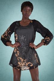 Long Sleeve Leaf Print V-Cut Back Tunic Dress