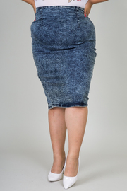 Plus Size Mineral Washed Denim Midi Skirt