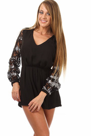 Long Sleeve Lace Sequin Solid Romper