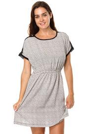 Printed Short Sleeve Spandex Waist Dress