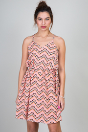 Chevron Print Draw String V-Neck Dress