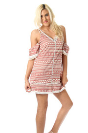 Tribal Print Lace Trim Off The Shoulder Dress