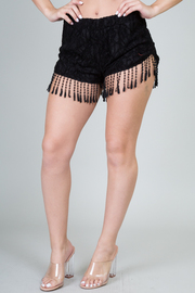 Lace Trim Fringe Shorts