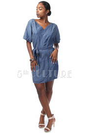 Denim V-cut Waist Tie Short Sleeve Dress