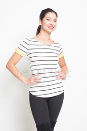 Striped Colored Cuff Hi-Low Top