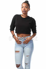 Embossed 3/4 Sleeve Crop Top