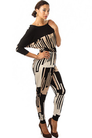 Abstract Blocked Dolman Sleeve Jumpsuit