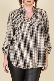 Plus Size Hounds Tooth Collared Long Sleeve Top