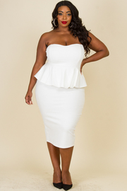 Plus Size Peplum Strapless Midi Dress