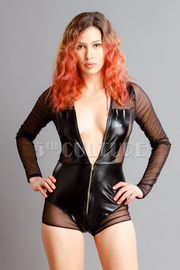 Sexy Mesh Leather Romper