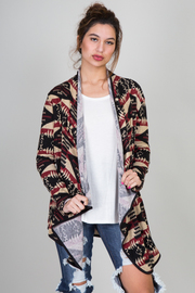 Ethnic Knit Print Cardigan