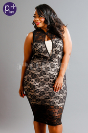 Plus Size Lace Layover Midi Dress