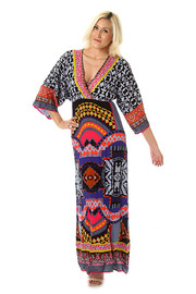 Native V-Cut Maxi Dress