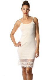 Tank  Lace Trim Knee Length Basic Cami Dress