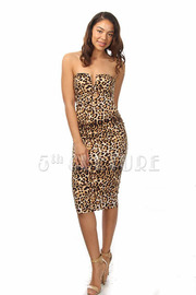 Leopard Safari Princess Strapless Midi Dress