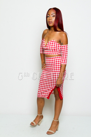 Hounds Tooth Sweetheart Crop Top & Slit Skirt Set